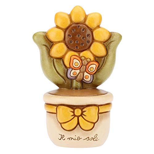 THUN - Vasetto Decorativo con Girasole e Farfalla - Soprammobile - Bomboniere e Accessori per la Casa - Formato Medio - Ceramica - 16 cm h