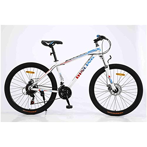 YUEBM Mountain Bike Outdoor Exercise for Men & Women 21 Variable Speed 26 Inches Cycling Sports Mountain Bikes for Cycling Enthusiasts-US Stock (White-Blue)