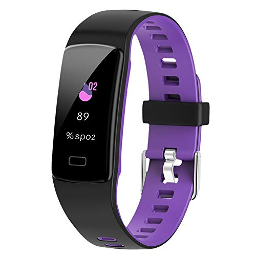 Airbinifit Fitness Tracker,Colorful Screen Activity Tracker with Heart Rate Monitor,Waterproof Pedometer Watch, Sleep Monitor, Stopwatch,Step Counter for Kids Women Men【2020 Version】 (blackpurple)