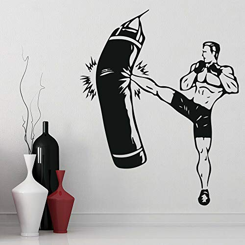 WERWN Kickboxer Fight Wall Decal Boxing Sport Boxer Etiqueta de la Pared Vinilo decoración Interior decoración de la habitación del niño 100x124cm