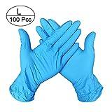 Lot de 100 gants jetables en nitrile non poudrés de qualité alimentaire - Bleu clair, Taille L
