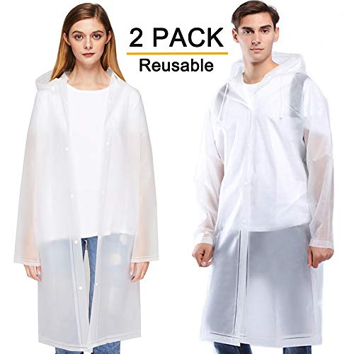 Cosowe Rain Ponchos for Adults, Family Pack Raincoats for Women Men with Drawstring Hoods and Sleeves, Waterproof Reusable Rain Jacket for Emergency, Disney, Sports, Outdoors