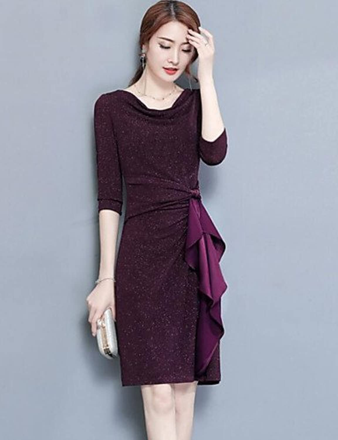JIALE3536 Ladies dress Women's Dress, V Neck Long Sleeve Micro-elastic Opaque