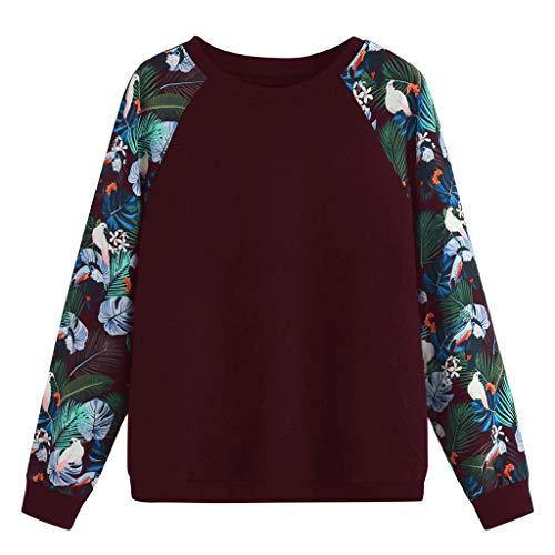 CHMORA - Camiseta de manga larga para mujer con estampado de flores y pájaros.
