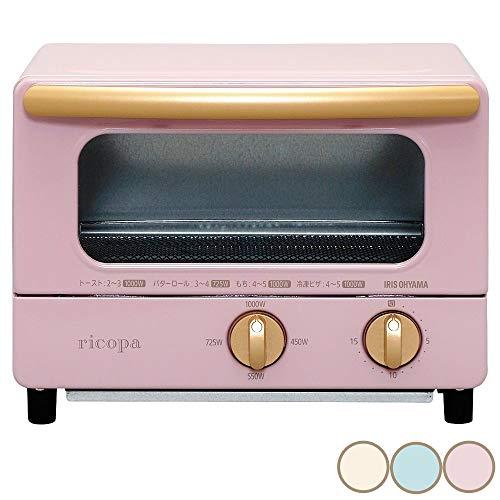 アイリスオーヤマ オーブントースター トースト2枚 4段階温度調整機能付き ricopa アッシュピンク EOT-R1001-PA