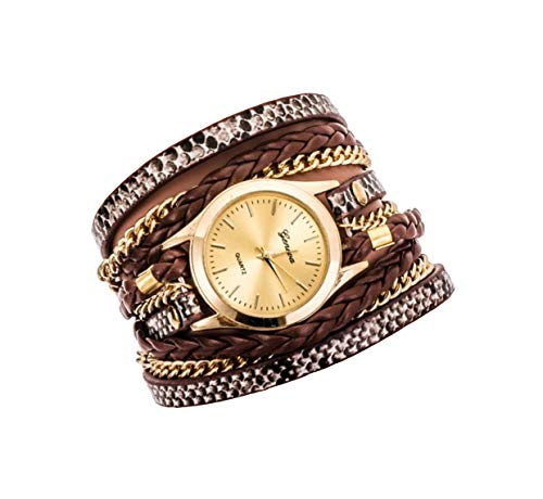Ledhill Geneva Leopard Fashion Golden Chain Woven Strap Bangle Wrist Watch (BROWN)