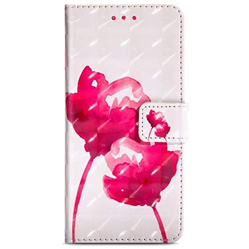 kompatibel mit Moto G4 Play Hülle,3D Bunt Gemalt Muster Tasche Leder Flip Waset Case Brieftasche Etui Schutzhülle PU Leder Flip Hülle Handytasche für Moto G4 Play,Rosa Rose Blume