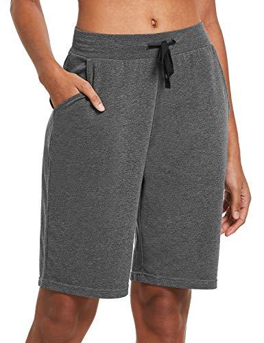 BALEAF Damen Bermuda Shorts mit Taschen Kurz Baumwolle Hose für Yoga, Sport, Freizeit Dunkelgrau M