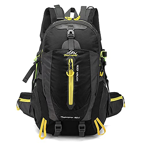 KDFJ 40l impermeable escalada mochila viajes caminata mochila portátil daypack trekking mochila al aire libre hombres mujeres deporte bolsa-Amarillo negro