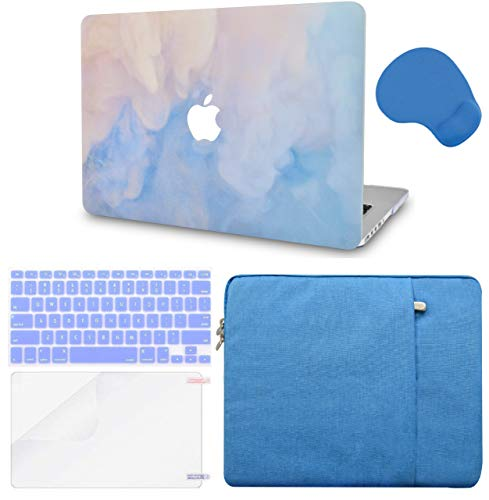 """LuvCase 5in1 LaptopCase for MacBook Pro 13""""(2020) with Touch Bar A2251/A2289HardShellCover, Sleeve, Mouse Pad, Keyboard Cover and Screen Protector(Blue Mist)"""