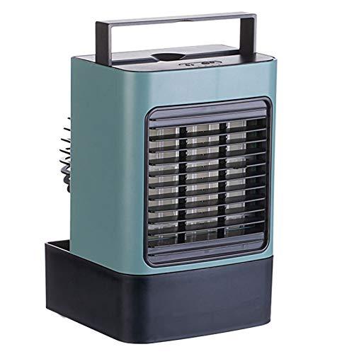 HALIGHT Mini Aire Acondicionado Portatil, Extraíble Enfriador Aire en Mesa, Ventilador Aire Acondicionado Personal Humidificador Purificador 3 en 1, 3 Velocidades, para Hogar, Oficina,Verde