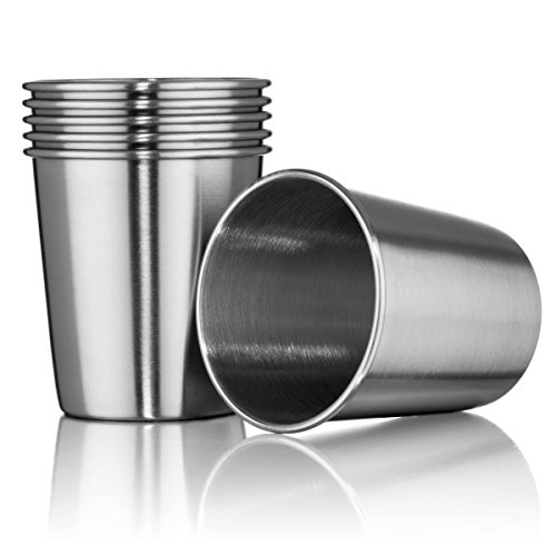 Hudson Essential 7 oz Stainless Steel Cups  Stackable and Unbreakable Drinking Cups Great for Kids  Set of 6 7 oz