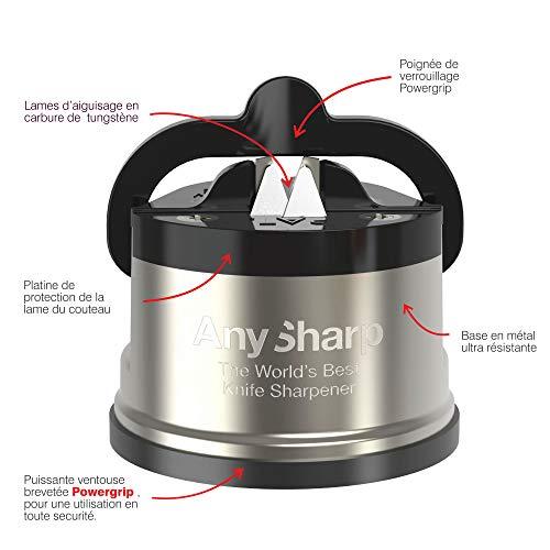 AnySharp Pro Metal Knife Sharpener with Suction, Brushed Metal