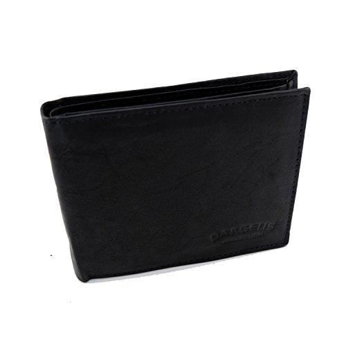 Echt Leder Geldbörse von Dargelis - Schwarz - Querformat - Geheimfach mit Reißverschluss & mehreren Kartenfächern