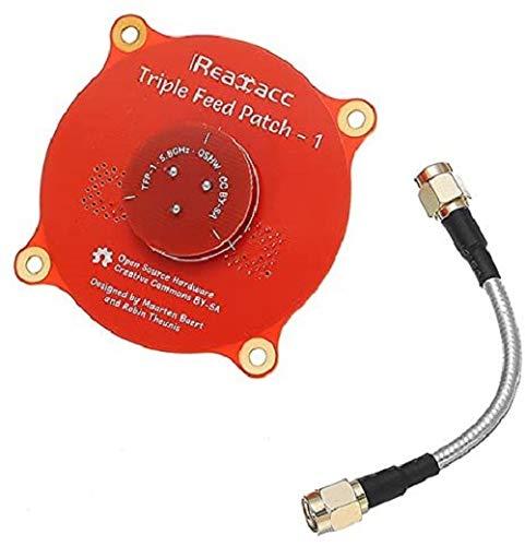 Triple Feed Patch-1 5.8GHz 9.4dBi Directional Circular Polarized FPV Pagoda Antenna for Fatshark DJI Eachine Goggles (Red)