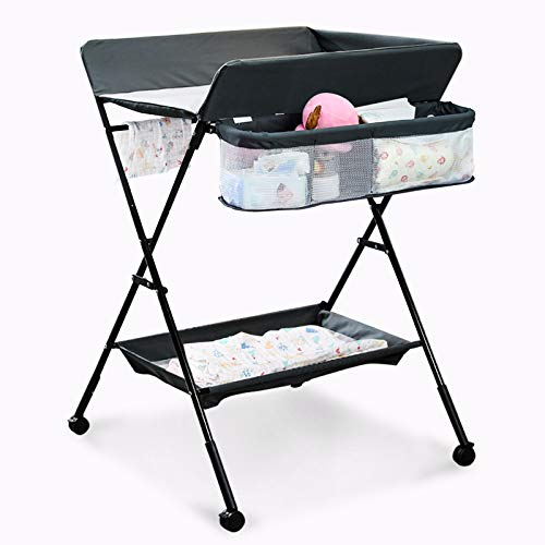 Mobile Baby Changing Table, Adjustable Height Folding Portable Diaper Station Nursery Organizer with Safety Belt, Lockable Wheels, Portable Infant Newborn Change Table (Grey)
