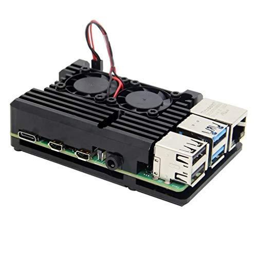 FOY Caja de aleación de Aluminio CNC con disipadores de Calor Ventiladores Dobles para Raspberry Pi 4 Modelo Negro