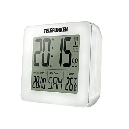 TELEFUNKEN Wecker Funkwecker digital LCD DCF mit Thermometer Temperaturanzeige und Kalender autom. Zeitumstellung weiß FUD-25H (W)