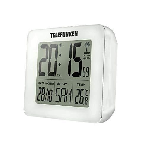 TELEFUNKEN FUD-25H Réveil radio numérique LCD DCF avec thermomètre, affichage de la température et du calendrier Blanc