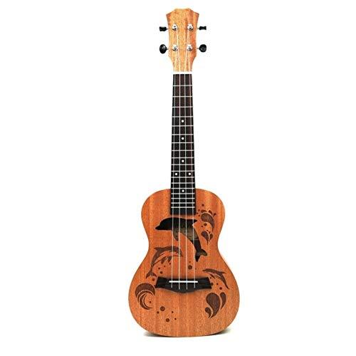 JiaLG Nuevo 21 Pulgadas Profesional Sapele Dolphin Pattern Ukelele Guitarra de Caoba Cuello Delicado Tuning Peg 4 Cuerdas Regalo de Madera Ukulele