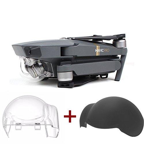 Flycoo Confezione da 2: Densità Neutra Filtro Clear Gimbal cap + Cover in Silicone AntiGraffio per DJI Mavic PRO Gimbal Camera Lens Protection Accessories (Clear + Coperchio in Silicone)