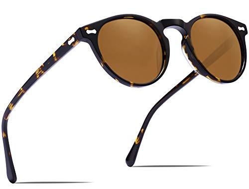 Carfia Sonnenbrille polarisierte UV400 Schutz Vintage Eyewear für das Fahren von Reisen, Rund, Braun