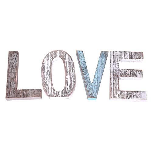 """Comfify""""LOVE"""" Dekorative Holzbuchstaben - Große Holzbuchstaben für eine Wanddekoration in Rustikalblau, Weiß und Grau - Rustikale Wohndekoration für das Wohnzimmer - Landhausdekoration"""
