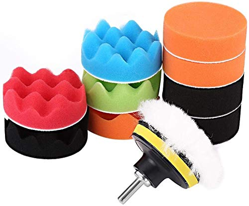 Car Sponge Polishing Pad 12Pcs 3 Inch Buffing Kit For Auto Polisher With Drill Adapter For Car Polishing, Sanding, Waxing