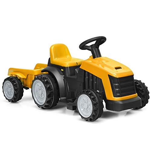 COSTWAY Tractor Infantil con Remolque Desmontable Tractor Eléctrico 6V, 2,5-3 km / h,2 Velocidades con Interruptor de Adelante y Atrás para Niños Más de 2 Años (Amarillo)