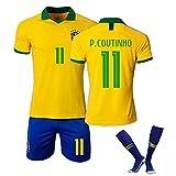 Crstal P.Coutinho 11# 2019-2020 Trikot Set mit Hose Herren Kinder Jugend - Geschenke für Kinder Erw. Jungen Baby Fußball T-Shirt Bedrucken (Size:24)