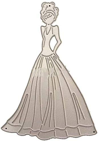 XinYiC Plantillas de corte de metal para niña con vestido largo, para...