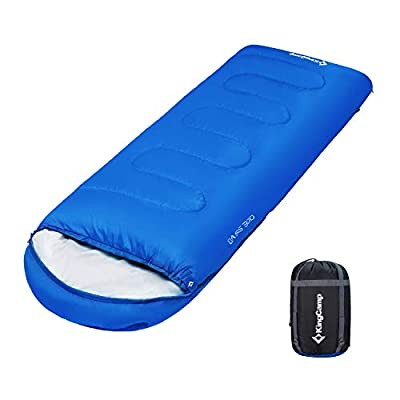 KingCamp Envelope Sleeping Bag 3 Season Lightweight Comfort Portable Great for Adults Kids Camping Backpack Hiking with Compression Sack Extreme Temp Rating 26F/-3C