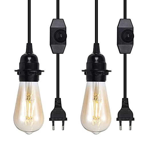 Bonlux Portalámparas vintage E27 con regulador de intensidad, enchufe colgante con interruptor y cable de 3,8 m para lámpara con bombilla regulable estándar de la UE (negro, paquete de 2)