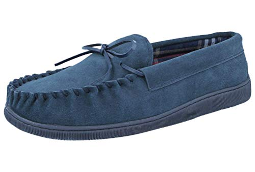 Cushion Walk Mens Real Suede Leather Moccasin Slippers Size 7-12 (11 UK, Navy Blue)