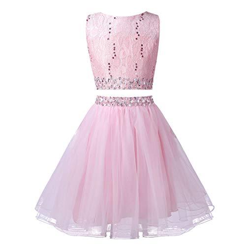 YiZYiF Niñas Vestido de Lentejuelas Brillantes con Diamantes de Imitación de 2 Piezas Top Corto sin Mangas con Falda de Tutú de Malla de Fiesta para Princesa Rosa 5-6 años