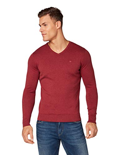 TOM TAILOR Herren Pullover & Strickjacken Schlichter Strickpullover Fathers ripe red Melange,XL