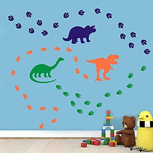 FEICHANG Calcomanía de pared de dinosaurios coloridos con huellas de dinosaurios, vinilo para pared para niños y niñas, decoración del cuarto de niños, naranja, azul, amarillo verde (74 piezas)