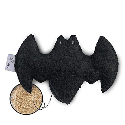 CATLABS nachhaltiges Katzenspielzeug 'Flauschige Fledermaus' mit Baldrianwurzel | Faire Handarbeit für Deine Katze | Natürliche Schafwolle ohne Polyester | Füllung 100% Baldrianwurzel | Nachfüllbar