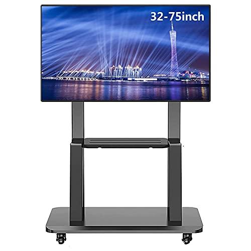 Soporte de TV móvil para televisión de 75/65/55/50/42/32 pulgadas, soporte giratorio para TV, carrito de TV con ruedas universal negro resistente con ruedas y estante, soporte de pantalla de montaje