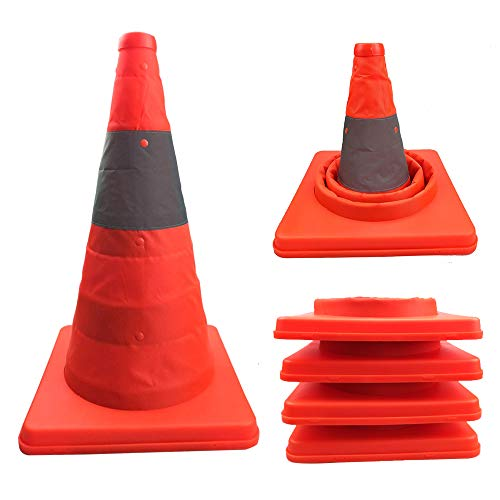 Annurssy 4-Piece 15.5-Inch Collapsible Safety Traffic Cones Multi-Purpose Pop-Up Reflective Road Parking Orange Safety Cone