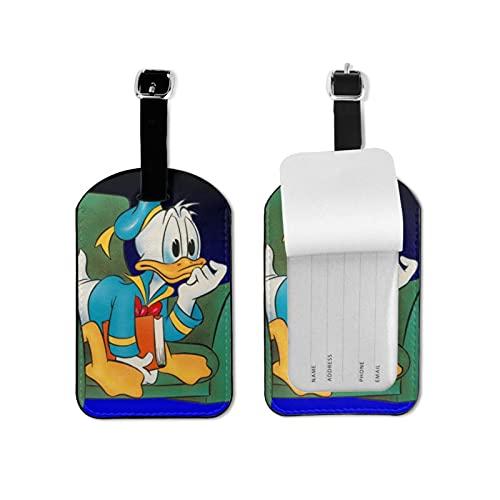 Donald Duck - Maleta de piel sintética de alta calidad, diseño de impresión profesional, diseño de maleta, privacidad, etiqueta de equipaje de moda