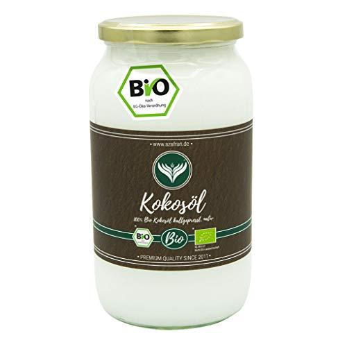Azafran BIO Kokosöl Kokosnussöl Kokosfett nativ kaltgepresst im Glas 1L