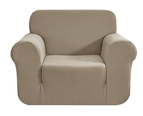 E EBETA Elastisch Sofa Überwürfe Sofabezug, Stretch Sofahusse Sofa Abdeckung Hussen für Sofa, Couch, Sessel 1 Sitzer (Sand, 85-115 cm)