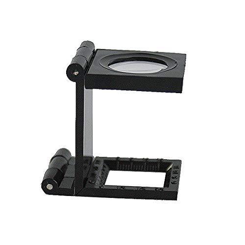 EUROXANTY®- Lupa 10X 28mm Mini Lupa Plegable con Escala para la Herramienta Lupa Plegable Tela PVC Óptico Negro