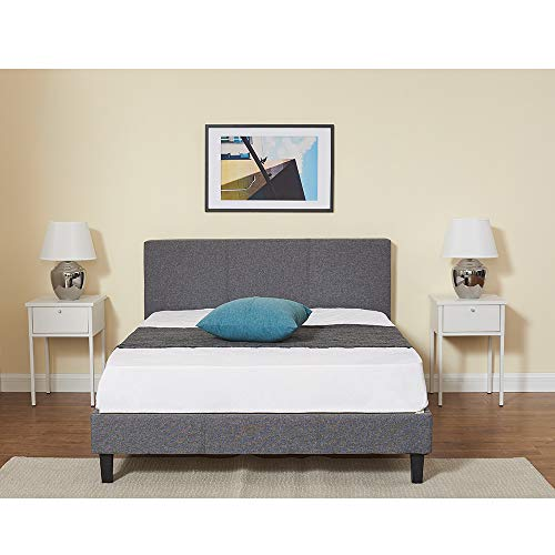 Panana Modern 4FT6 Bed Frame Fabric Upholstered Bed with Slats Headboard Bedroom Home Adults Grey
