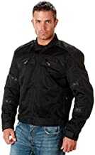 Xelement CF380 Black Tri-Tex Mesh Motorcycle Sport Jacket For Men with X Armor (Large)