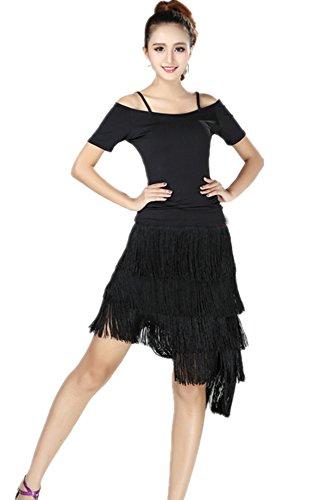 XFentech Femmes Danse Ensemble Outfit + Irrégulière Tassel Jupe Dance Training Costume (S, Style 4)