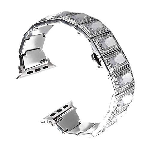 Qianyou Compatible avec Bracelet Apple Watch 42mm Series 3 2 1 Femme Ajustable Métal Fermoir en Acier Inoxydable Bracelet de Remplacement Incrusté de Diamants Brillants Argent avec Cristaux Blancs