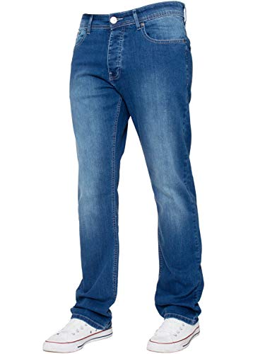 Enzo New Mens Stretch Straight Leg Regular Fit Classic Basic Denim Jeans...