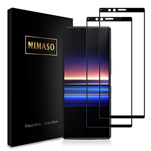 【2枚セット】Nimaso Sony ソニー Xperia 1 用 強化ガラス液晶保護フィルム(SO-03L SOV40)【全面保護】【貼り付け簡単】硬度9H/気泡ゼロ/防爆裂